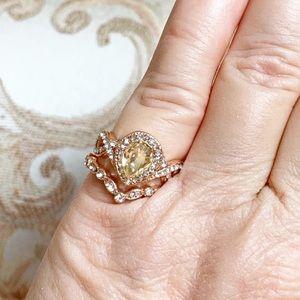 Morganite Antique Design Bridal Ring Set, Sz 6.5